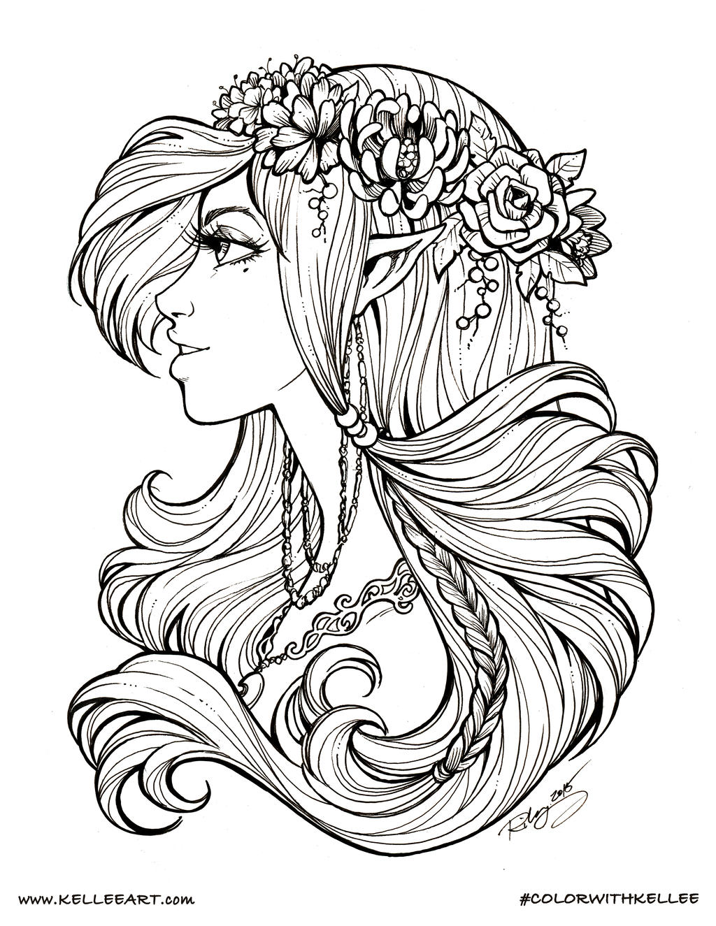 Colorwithkellee elf by kelleeart on deviantart for Realistic mermaid coloring pages