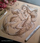 Mother and Daughter Mermaids