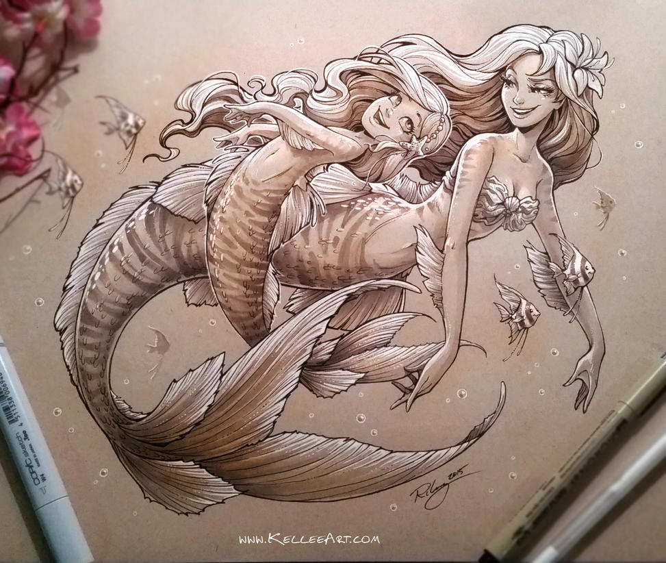 Uncategorized Drawing Of Mermaids mother and daughter mermaid 2 by kelleeart on deviantart kelleeart