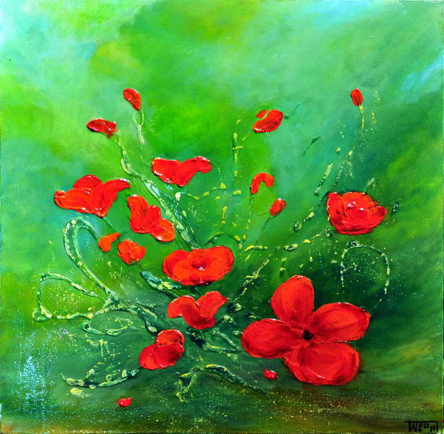 RED POPPIES II by ARTBYTERESA