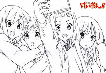 K-ON! GroupPictureLineArt Ink without Cleaning