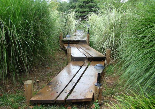 Wooden Walkway Japanese Garden by ThruCarolsEyes Stock on