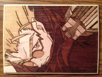 Vash the Stampede Wood Burning with Staining by jspinazzola