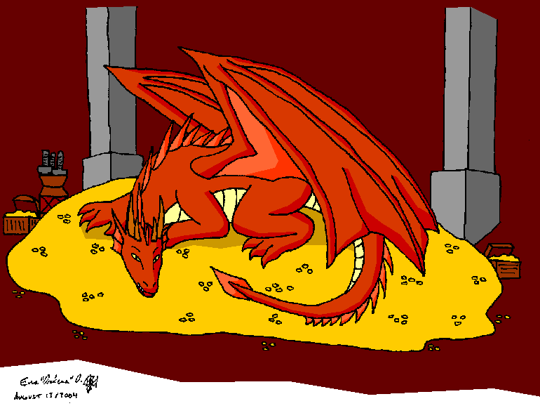 smaug on pile of gold by drakenadestroyer on deviantart