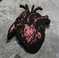 black anatomical heart pin $10