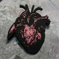 black anatomical heart pin $10