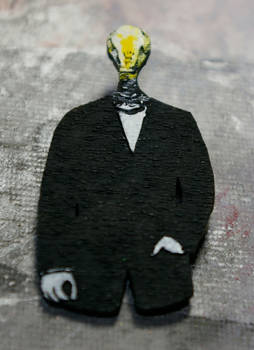 light bulb man pin brooch