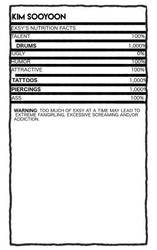 Kim Sooyoon - Nutrition Facts by foreverjins