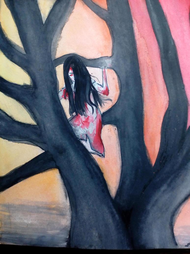 Girl sitting on a tree by StrangePainter