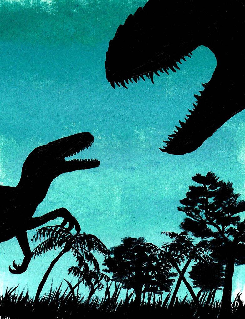 Jurassic World Fan Art - I. Rex and Raptor by Tyrannosaur17