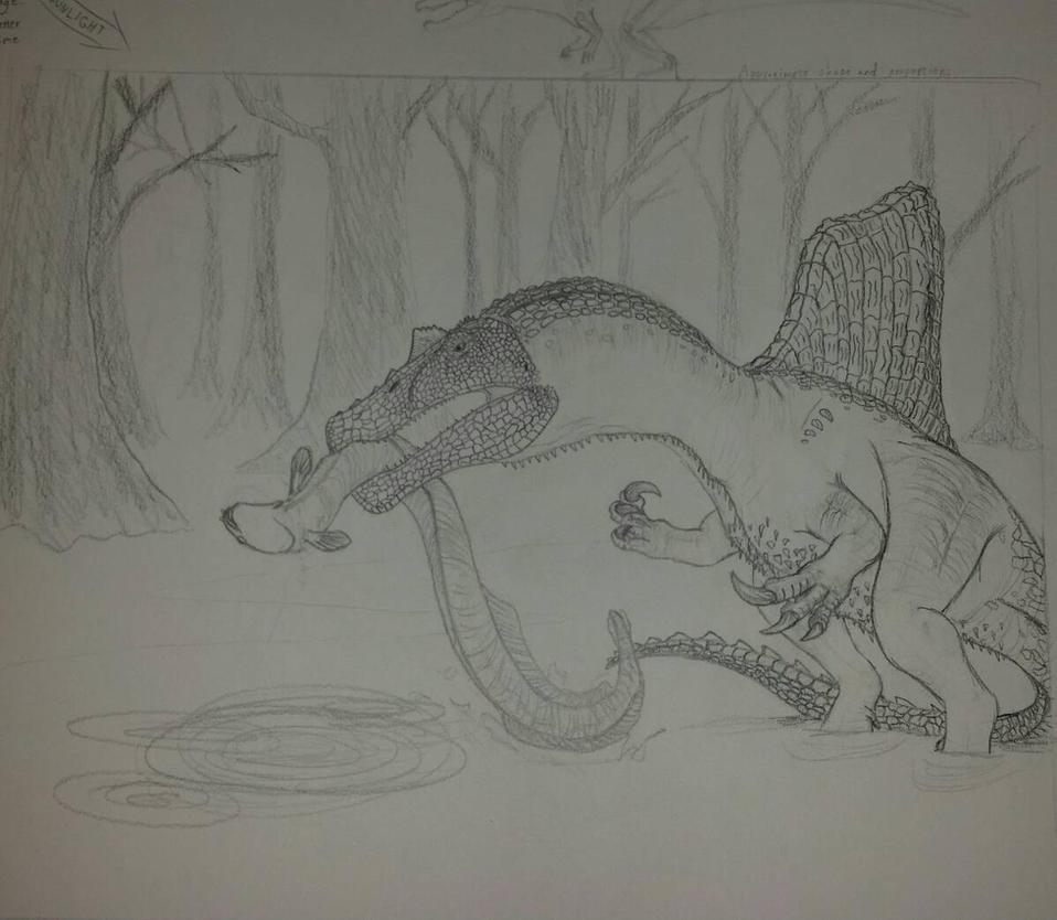 Spinosaurus Preliminary Sketch by Tyrannosaur17