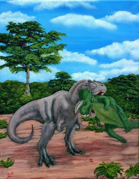 Caught - Daspletosaurus and Ceratopsian