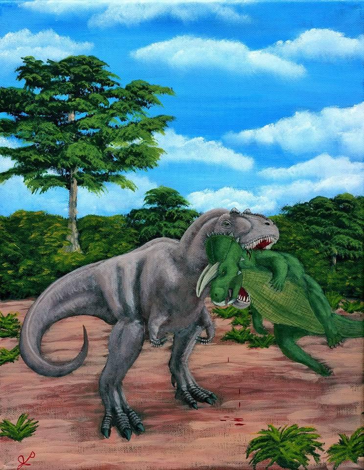 Caught - Daspletosaurus and Ceratopsian by Tyrannosaur17