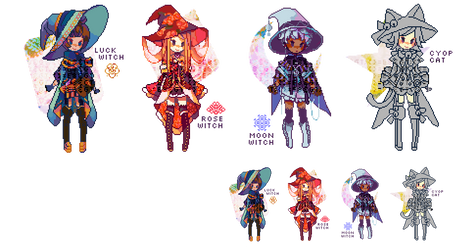ADOPTABLE SET 24: petite witches | CLOSED