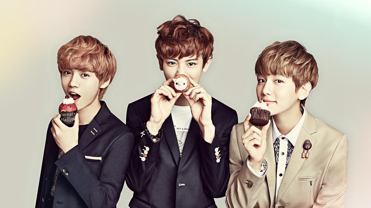 exo baekhyun chanyeol and luhan hd wallpaper edit by death-by