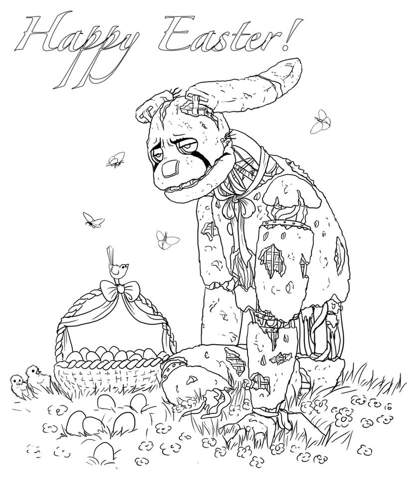 Happy Easter Coloring Sheet By Leda456