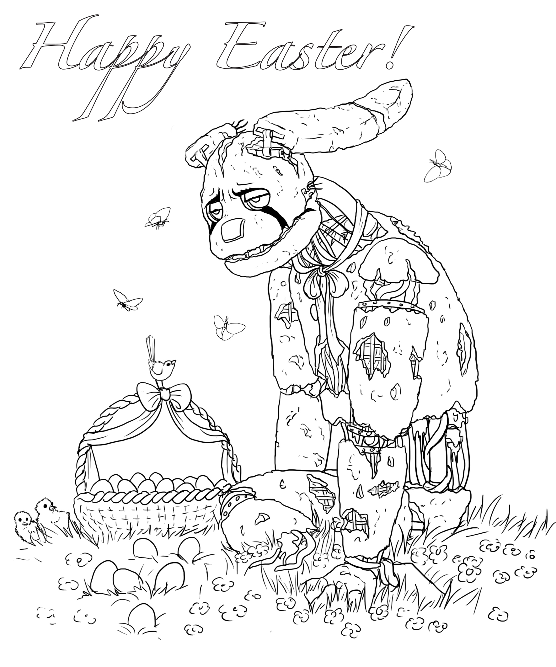 happy easter coloring sheet by leda456 on deviantart