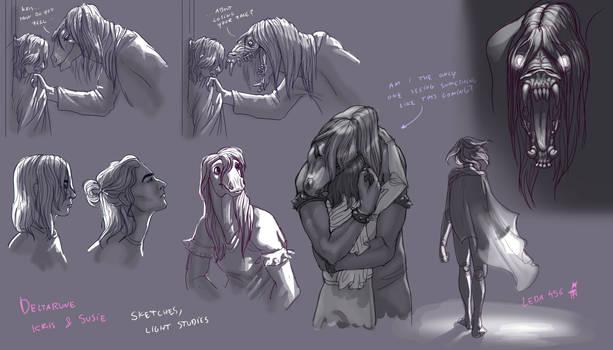 Deltarune sketches - Kris and Susie