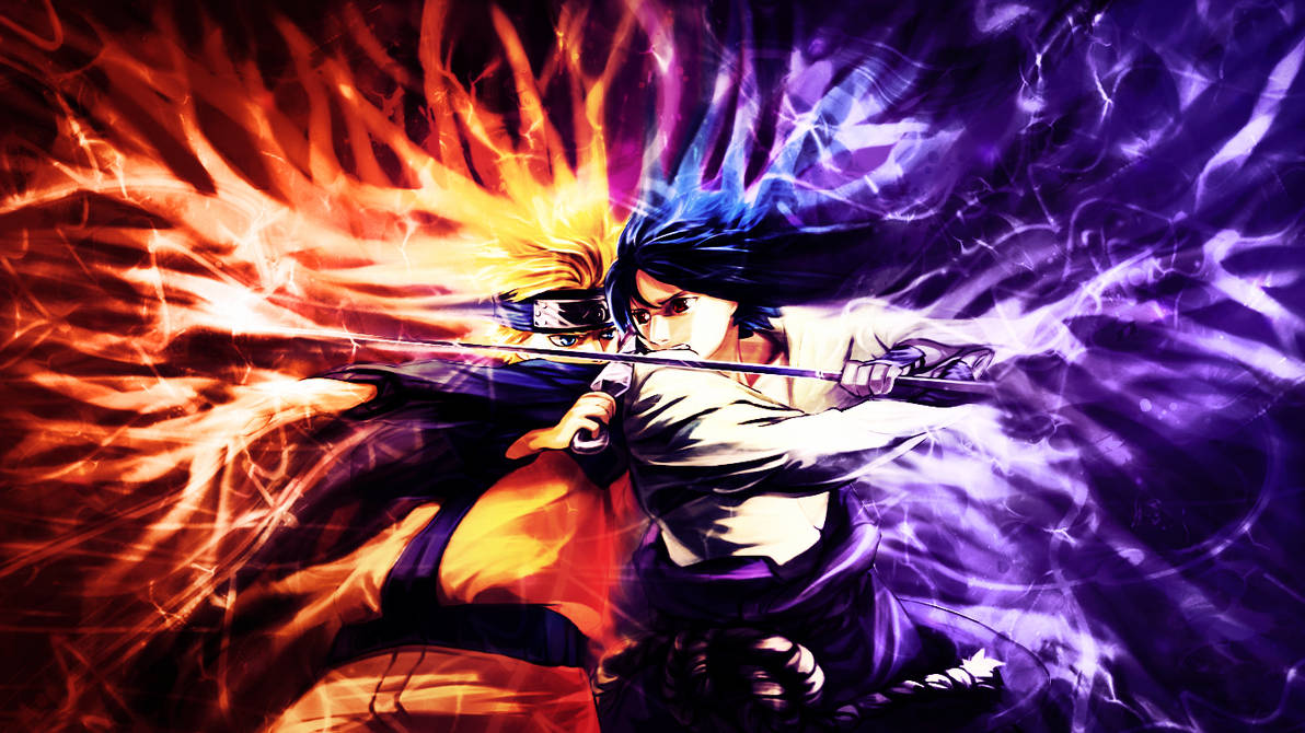 Naruto vs Sasuke Wallpaper by MajorasKeyblade