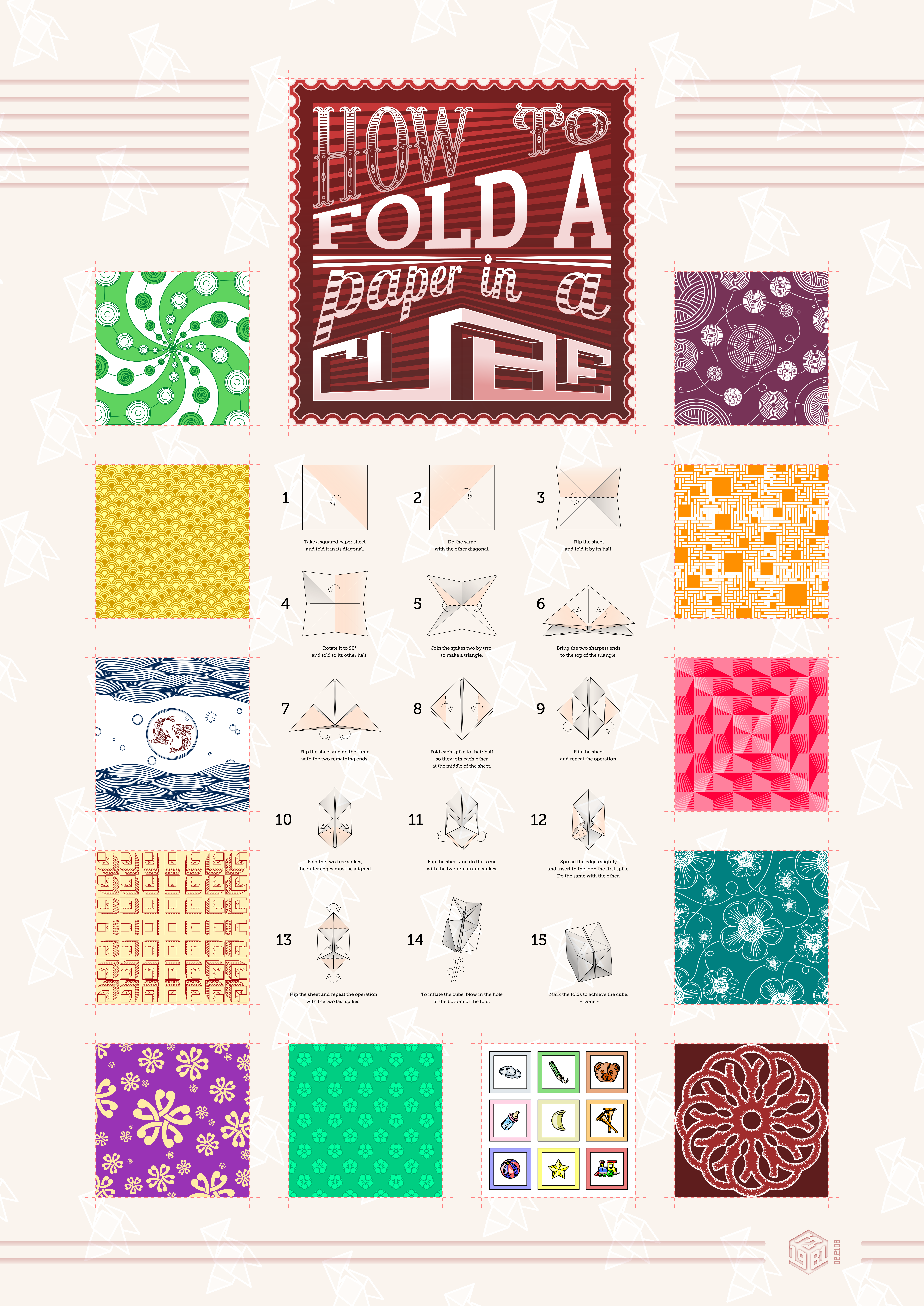 How to fold a paper in cube