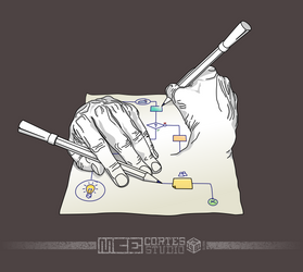 Hands drawing process by m-1981