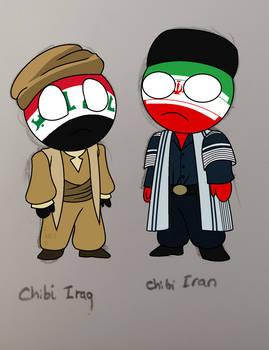 CountryHumans: Chibi Iraq + Iran COLORED by Spisak-Illus2018