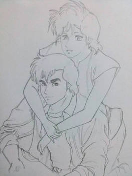 Ryo and Kaori Lineart
