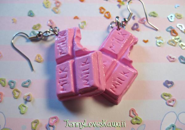 Strawberry milk earrings by JennyLovesKawaii