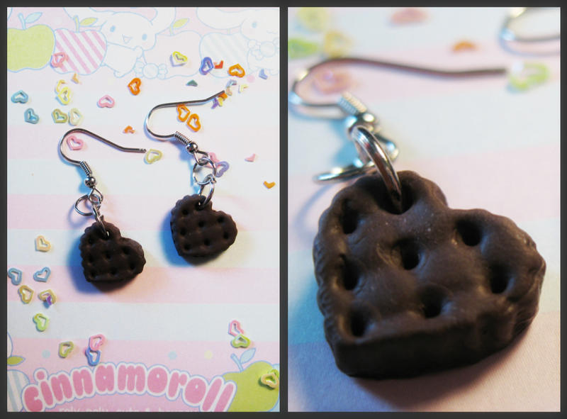 Chocolate cookie earrings by JennyLovesKawaii