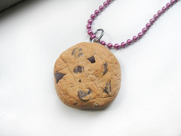 Chocolate Chip Cookie Necklace by JennyLovesKawaii