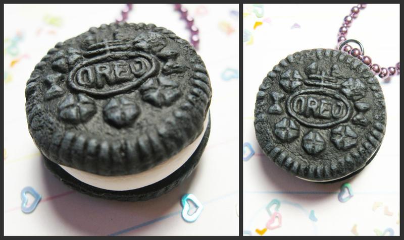Polymer Clay Oreo Necklace by JennyLovesKawaii