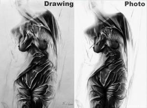 Le nu sous drap: drawing vs photo