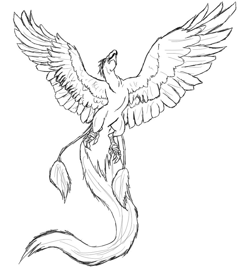 Phoenix Lineart 01 By Death Tendency On Deviantart