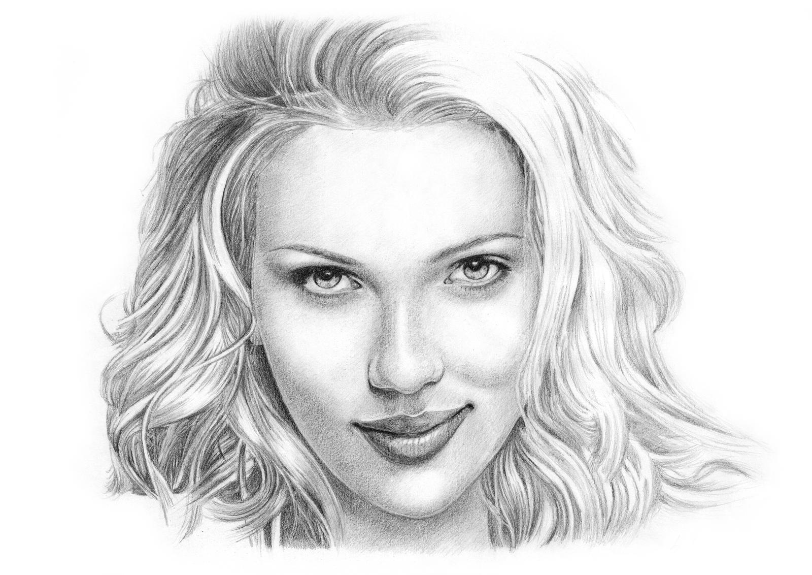 Scribble Drawing Portraits : Scarlett johansson portrait drawing by alien design on