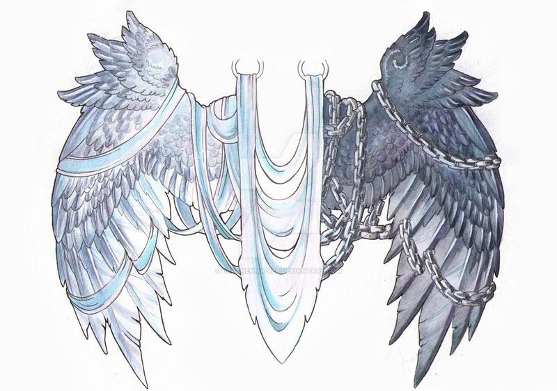 Good Evil Wing Tattoos