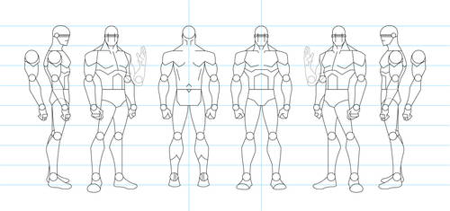 Figure Drawing Turnaround Template - Male by tamm3r