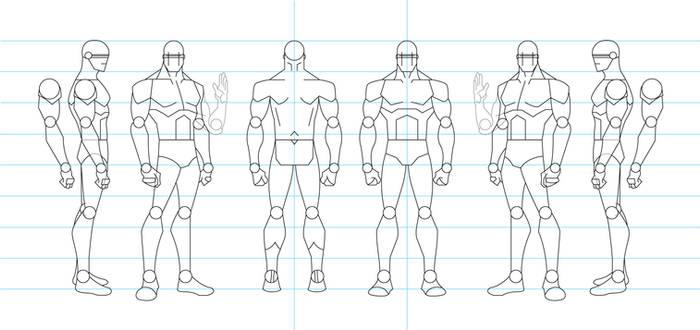 Figure Drawing Turnaround Template - Male