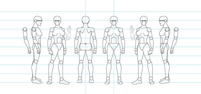 Figure Drawing Turnaround Template - Female