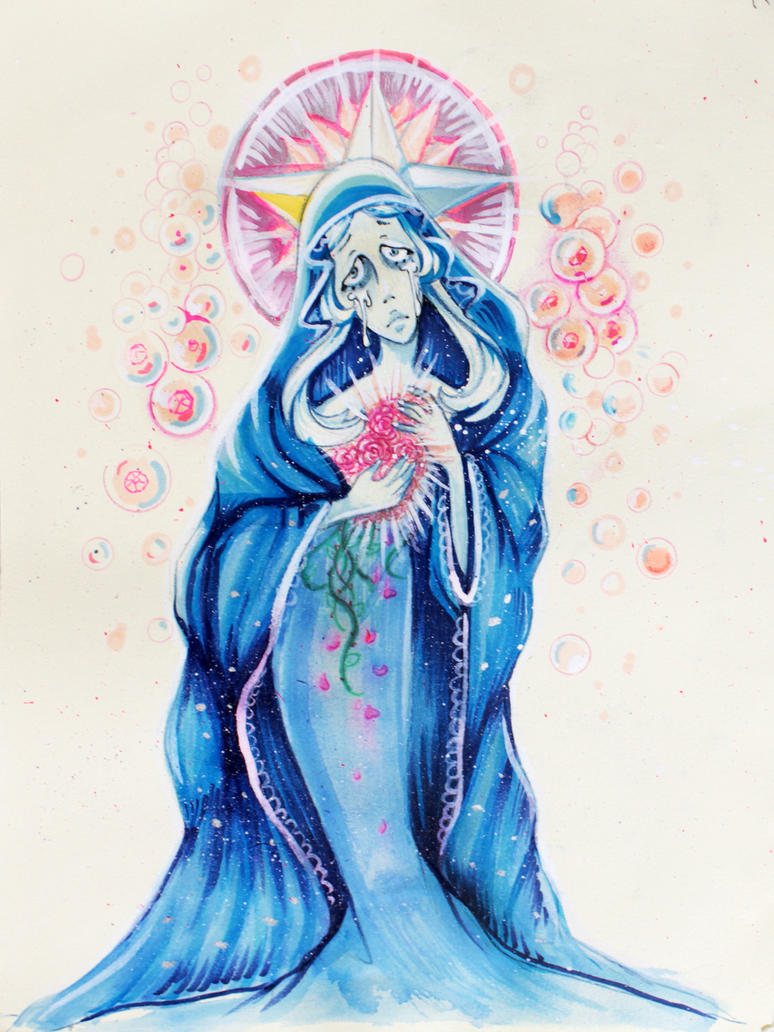 A piece I did of Blue Diamond from Steven Universe. Media: copic markers, India ink, acrylic paint, gel pen on Rives BFK
