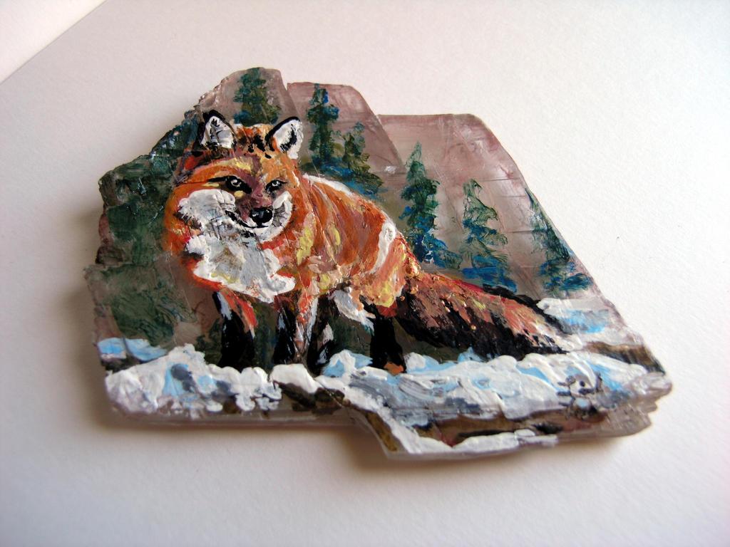 Fox on Selenite by Bireaux