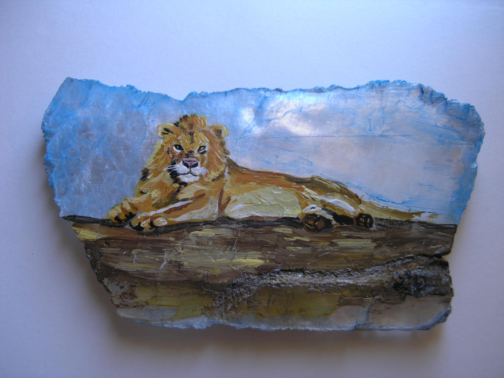 Lion Painted on Selenite by Bireaux