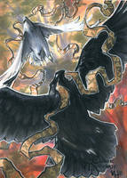 Huginn Muninn Sketch Card - Meghan Hetrick by Pernastudios