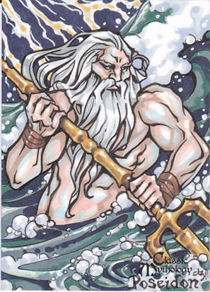 Poseidon Sketch Card - Amber Shelton by Pernastudios