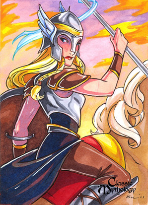 Valkyrie Sketch Card - Kat Laurange by Pernastudios