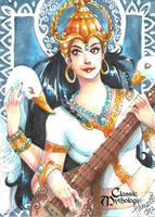 Saraswati Sketch Card - Hanie Mohd by Pernastudios