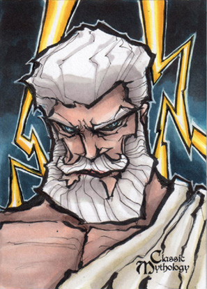 Zeus Sketch Card - Matthew J Fletcher