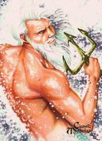 Poseidon Sketch Card - Rhiannon Owens by Pernastudios