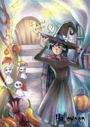 Hallowe'en Sketch Card - Hanie Mohd 1 by Pernastudios
