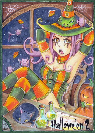 Hallowe'en 2 Sketch Card - Helga Wojik 1 by Pernastudios