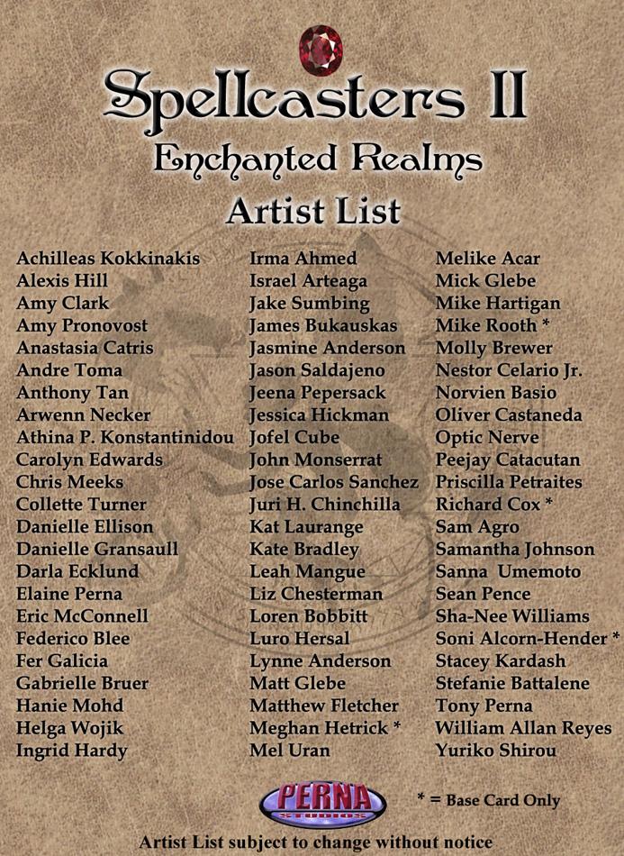 Spellcasters II Artist List by Pernastudios
